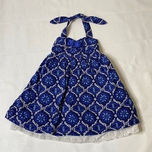 Janie And Jack Halter Top Dress Blue Print-12/18M